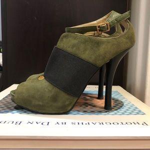 Nine West Olive Green/Black Peep Toe Sandal (6.5)